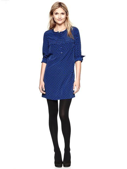 blue dress + black tights