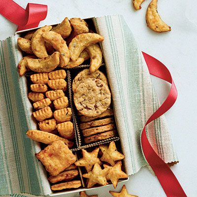 Cheese Straw Sampler | Wrap these savory bites in a fabric-lined 9- × 4 1/2-inch box. Make dividers out of corrugated paper or lightweight cardboard.