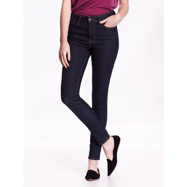 Old Navy High Rise Rockstar Skinny Jeans ($30) ❤ liked on Polyvore featuring jeans, blue, petite, super high-waisted skinny jeans, white high-waisted jeans, stretch skinny jeans, dark denim skinny jeans and blue jeans