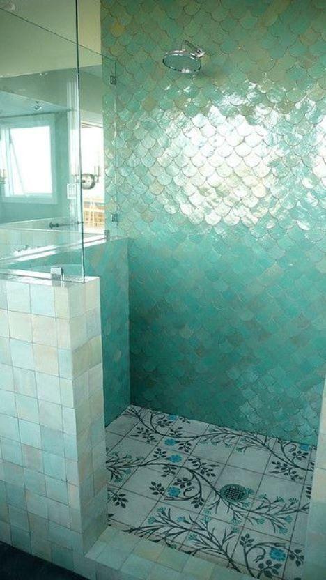 Idee per decorare le pareti del bagno - Bagno turchese