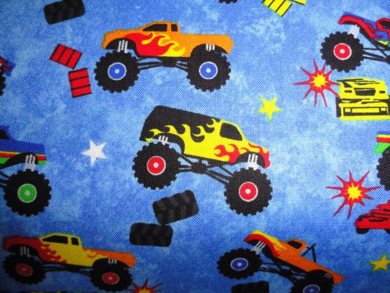 Monster Trucks Fabric For Maxs Bed!