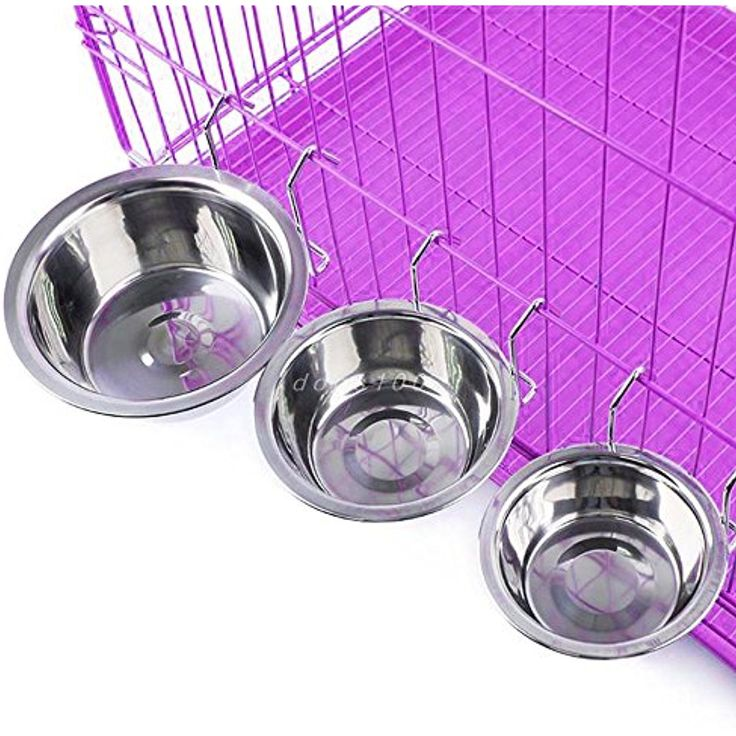 Nowry(TM) Stainless Steel Hanging Pet Cage Bowl Coop Cup Bird Cat Dog Puppy Food Water Bowl Pet Travel ~~ For more information, visit image link. (This is an affiliate link and I receive a commission for the sales)