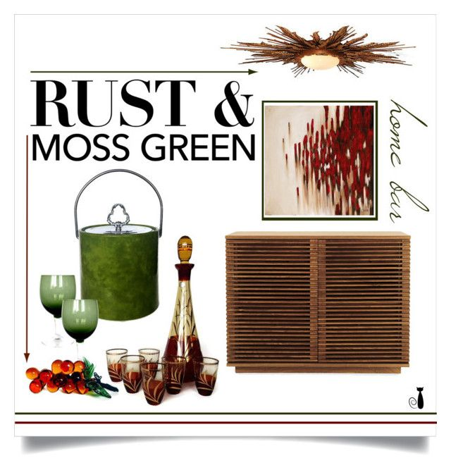 Rust & Moss Green Home Bar by nonamecatvintage on Polyvore featuring interior, interiors, interior design, home, home decor, interior decorating, Global Views, Ren-Wil, colorchallenge and mossgreenandrust