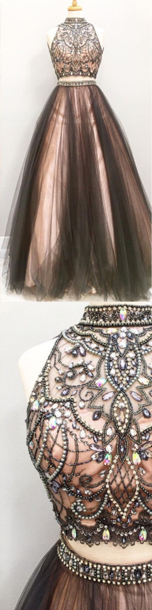 Pretty Prom Dress,High-Neck Prom Dress,Beading Prom Dress,Tulle Prom Dress