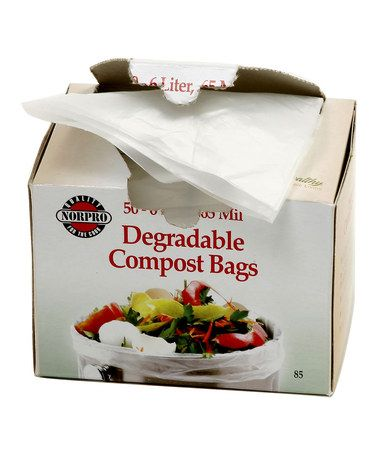 Degradable Compost Bag - Set of 50 by Norpro on #Zulily 5/12/13. Reg $10., Now $7.50. Made to fit most compost keepers & pails, these 100% biodegradable & compostable bags endorsed by the ISAB & OPI are an eco-friendly way to keep food scraps contained. They're also perfect for pet waste, and the dispenser lid makes removal easy. Includes 50 bags;  Size: 14''W x 16''H;  Each bag holds 6 L;  Imported.