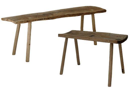 Gammel rå træbænk - ca 1,5m (Intet specifikt mærke)