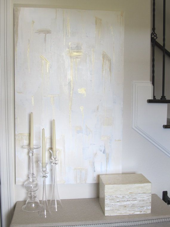 Large Original Gold White Cream Gray Abstract Painting