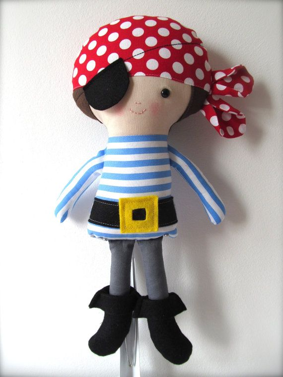 15 inch Soft Cloth Doll, Rag Doll, Collectible Personalised Handmade Doll, Pirate, Boy Doll, Handmade Doll