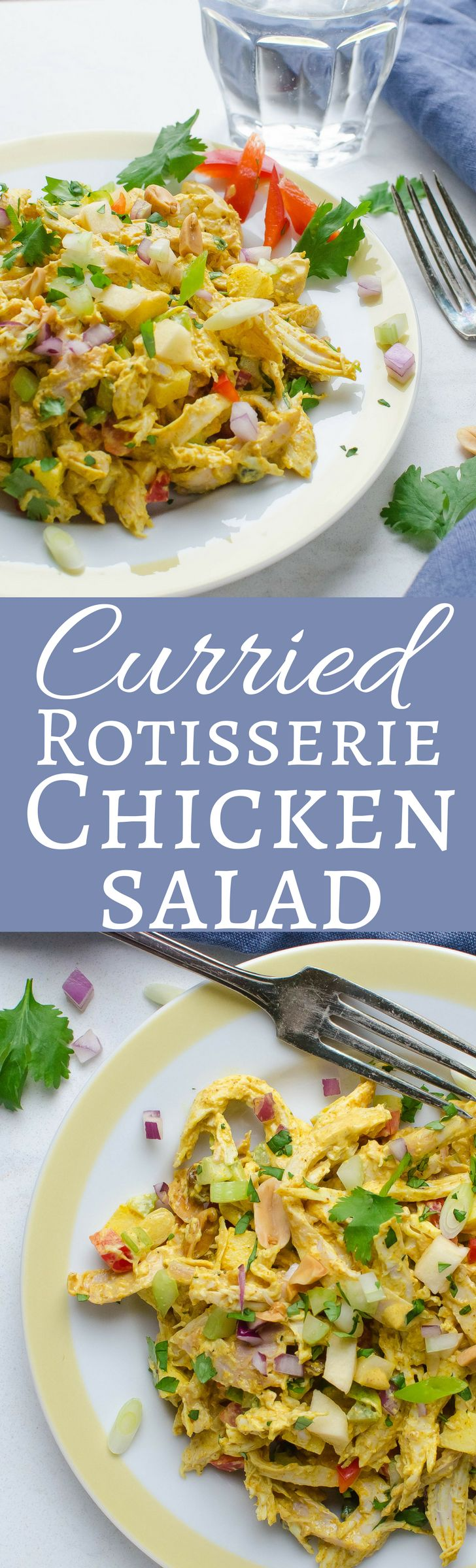 This easy recipe for curried chicken salad includes curry, turmeric, apples, and peanuts. Healthier than regular chicken salad, too!