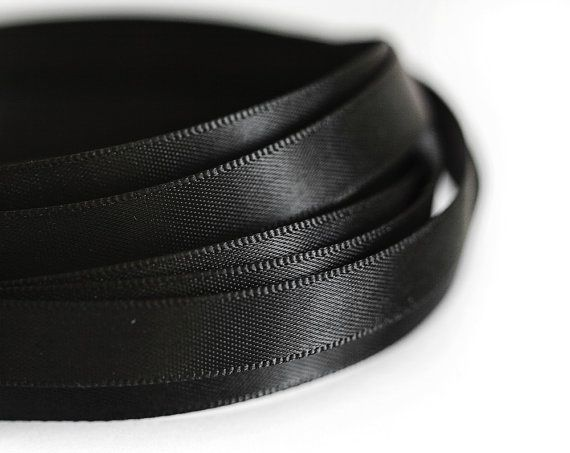 1932_Black ribbon 10 mm, Silk ribbon, Double faced ribbon, Ribbon silk, Band, Satin ribbon, Silk band, Ribbon double side, Dark band_10 m.