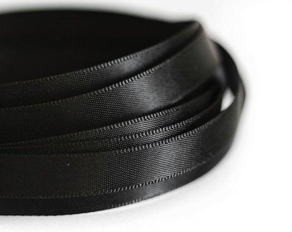 1932_Black ribbon 10 mm, Silk ribbon, Double faced ribbon, Ribbon silk, Band, Satin ribbon, Silk band, Ribbon double side, Dark band_10 m.