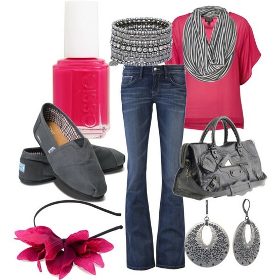 pink and gray: Colors Combos, Jeans, Toms Shoes, Hot Pink, Scarves, Pink Grey, Casual Outfits, Headbands, Pink And Gray