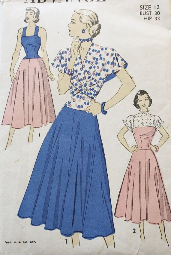 1940s  Dress and Sundress with Wrap Cape by BluetreeSewingStudio, $26.00