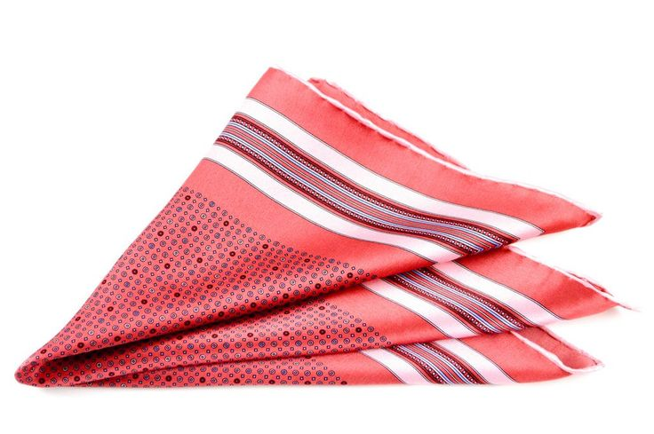 Playful pastels, with this Brioni Italy red shapes geometric silk pocket square!  |  Have at it! http://www.frieschskys.com/accessories/pocket-squares  |  #frieschskys #mensfashion #fashion #mensstyle #style #moda #menswear #dapper #stylish #MadeInItaly #Italy #couture #highfashion #designer #shop