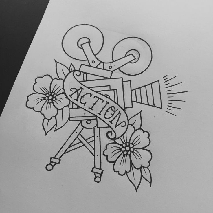 Old Movie Camera Tattoo Flash