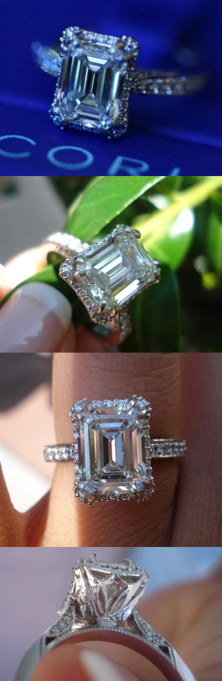 Emeraldlover1's platinum Tacori engagement ring features a 2.75 carat J VS1 emerald cut diamond.     The lovely setting is style 2620 by Tacori.    An emerald cut with beautiful proportions and great presence...     Profile shot of the intricate gallery - Tacori rings are known for their delicate details and excellent craftsmanship.