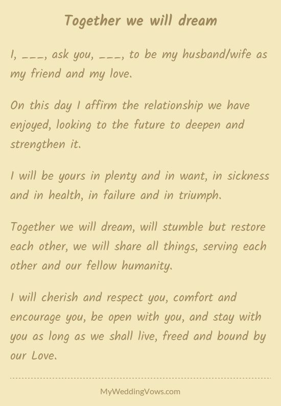 Together we will dream | Wedding vows to husband, Wedding