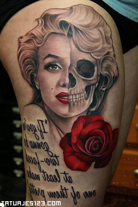 Sin duda es un mito, eso nadie podrá discutirlo y todavía hoy en día tiene su público y esos fieles seguidores que no se olvidarán nunca de ella. Un tatuaje original que, suponemos será un homenaje a Marilyn Monroe que muestra mitad de su rostro y su calavera, acompañada de un poema y una rosa.