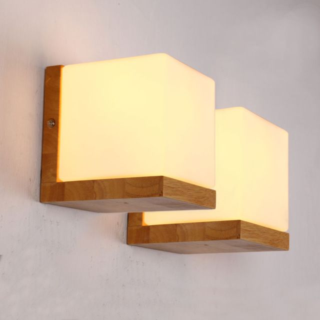 Minilism madera sólida lámpara de pared de vidrio esmerilado ruso pared de madera de roble Lights Home dormitorio azúcar Lampe Murale aplique de la pared
