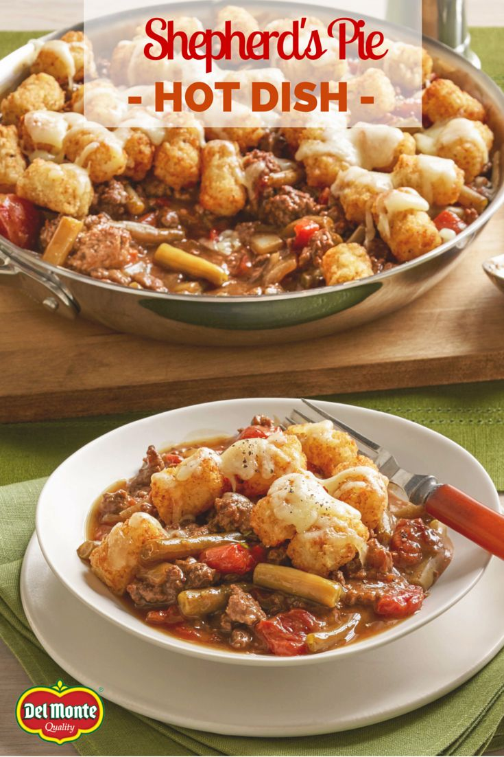 Enjoy Shepherd's Pie Hot Dish with a weeknight twist – it's topped with tater tots instead of mashed potatoes. Fans turn to this favorite for a comfort dish that cooks in one skillet and cleans up easily.
