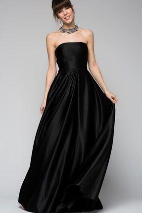 Straplez Siyah Elbise