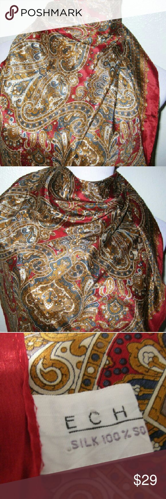 ECHO Japan vintage silk scarf square awesome! The finest silk ever! Impeccable condition ECHO Accessories Scarves & Wraps
