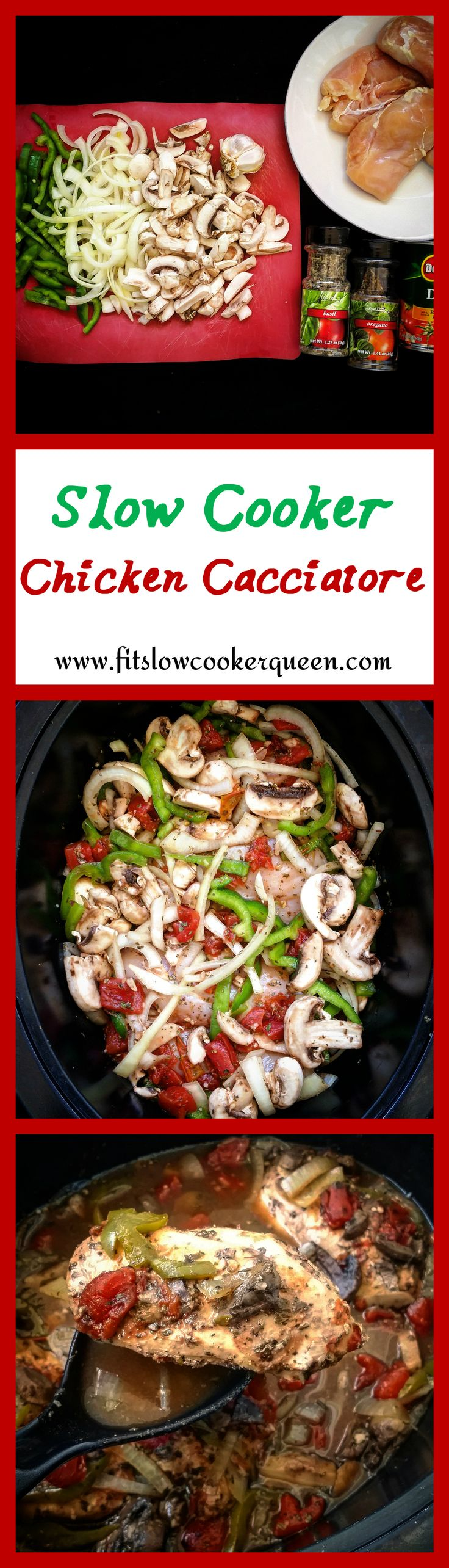 This slow cooker chicken cacciatore recipe is a healthy version of an Italian classic. #slowcooker #crockpot