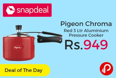 Snapdeal is offering Pigeon Chroma Red 3 L Aluminium Pressure Cooker just at Rs.949. Chroma Red, Inner Lid Pressure Cooker, Aluminium Material with Induction Compatible. Enhance The Look Of Your Kitchen With This Super Stylish Pressure Cooker Presented To You By Pigeon. 5 Years Warranty.   http://www.paisebachaoindia.com/pigeon-chroma-red-3-ltr-aluminium-pressure-cooker-just-at-rs-949-snapdeal/