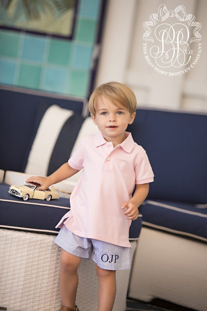 Shelton Shorts - Blue Oxford Stripe with Plantation Pink Oxford | The Beaufort Bonnet Company