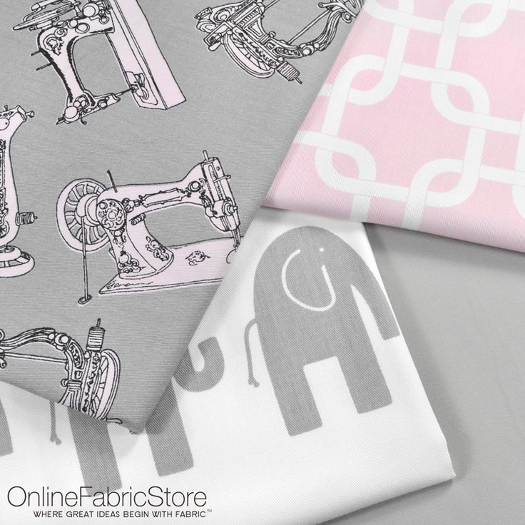 Premier Prints fabric for rooms or nurseries with gray, pink and white decor. Includes sewing machine, geometric and elephant designs.