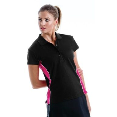 This Gamegear KK731 Ladies Track Polo Shirt features stylish contrast herringbone panels down the side, to provide a splash of colour. It's available in a choice of Five, 3-tone combinations and is ideal for that sporty casual look. Its simple design also makes it ideal for corporate branding via either print or embroidery.