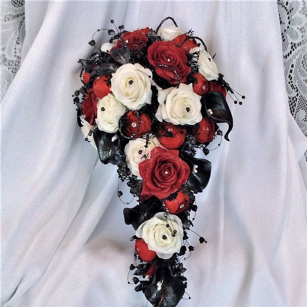 Victorian Gothic Wedding Cascade Wedding Bouquet-Red/White/Black... ❤ liked on Polyvore featuring home, home decor, white home accessories, red home accessories, white home decor, handmade home decor and black home decor