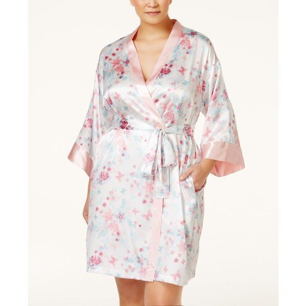 Morgan Taylor Plus Size Floral-Print Robes, ($13) ❤ liked on Polyvore featuring plus size women's fashion, plus size clothing, plus size intimates, plus size robes, tropical lilly, floral satin robe, satin bathrobe, satin dressing gown and bridal robes
