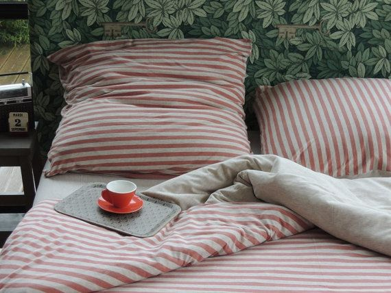 jersey bed linen for simple, full or queen size bed - coral stripe