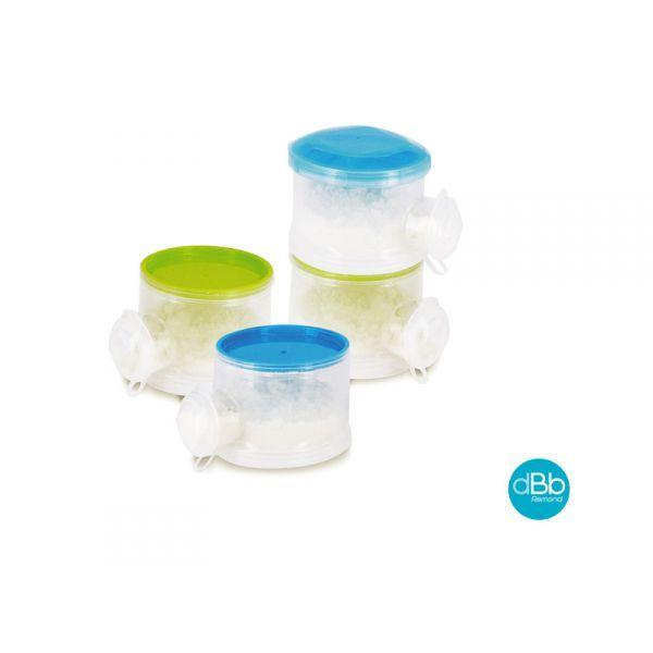 Ensemble de 4 boites de 60 g munie d'un couvercle et d'un bec verseur avec bouchon.  Elles peuvent s'utiliser séparément ou superposées.  Polypropylène ( sans BPA ) transparent pour le corps, de couleur pour le fond du couvercle.  Le contenu des boites doseuses est versé directement dans le biberon par le bec verseur.  Passe au lave-vaisselle.  Stérilisable.