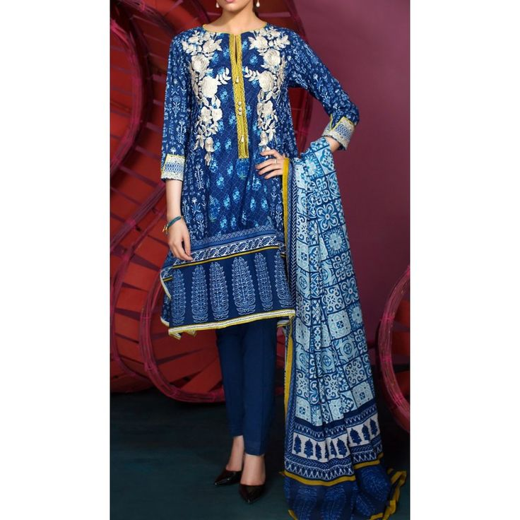 Navy Blue Embroidered Cambric Dress Contact: (702) 751-3523 Email: info@pakrobe.com Skype: PakRobe