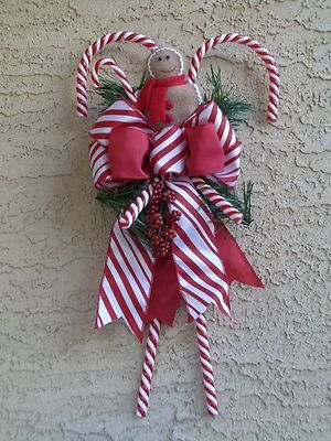 Christmas Candy Cane Wreath Swag Gingerbread Arrangement Door Decoration