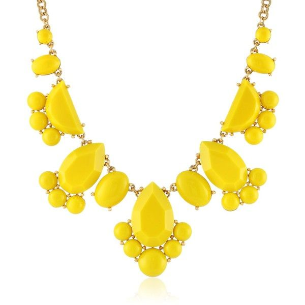 """kate spade new york """"Day Tripper"""" Lemon Yellow Necklace, 18"""" ($98) ❤ liked on Polyvore featuring jewelry, necklaces, accessories, kenneth cole new york, yellow bead necklace, cable chain necklace, beaded statement necklace, pendants & necklaces и circle chain necklace"""