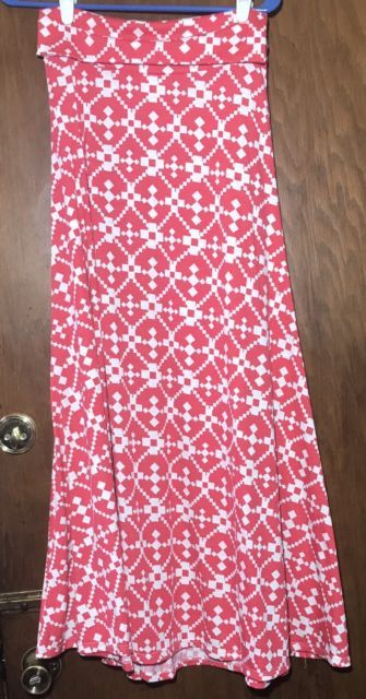 Lularoe XS Maxi Skirt Long Aztec Print Red White Unicorn EUC Geometric | eBay