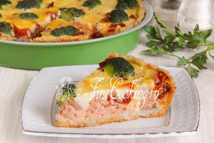 Киш с красной рыбой и брокколи - рецепт с фото