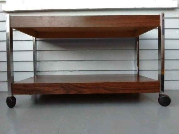 vintage tv stand plant stand book stand rolling cart mid century