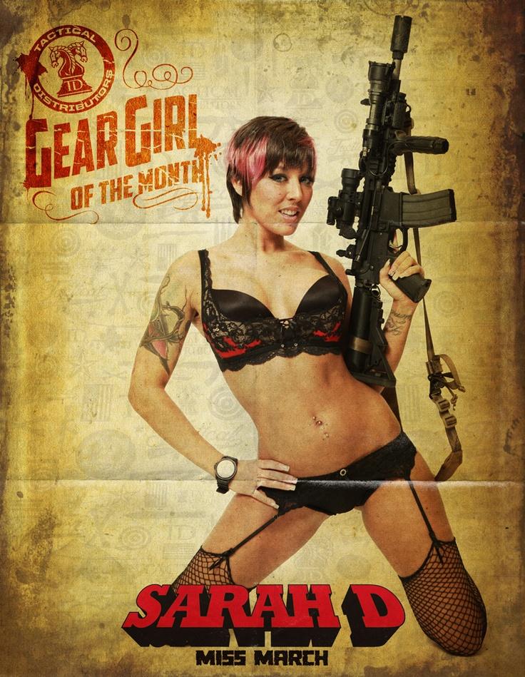 Miss March Sexy Sarah D. Hot Girls with Guns