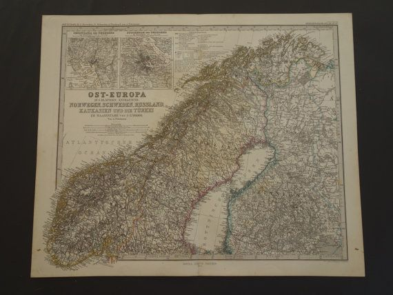 NORWAY old map of Norway Sweden and Finland  by DecorativePrints