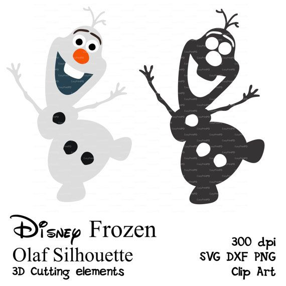 Olaf Frozen SVG, DFX, PNG cutting file Silhouette Elsa, Olaf, 3D Cutting elements template die cut file for Silhouette Cricut EasyPrintPD