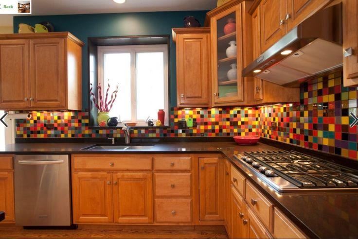 multicoloured kitchen tiles - Google Search