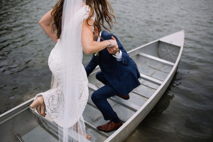 Canoe Wedding Portraits - Outdoor Autumn Lakeside Wedding at Pocono Springs Camp | Brittney Raine Photography