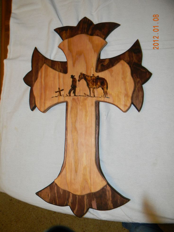 Cross with Wood Burning
