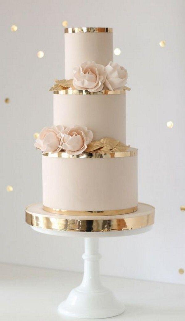 erröten rosa und gold hochzeitstorte ideen   – Blumen, Torten, Schmuck für Hochzeit