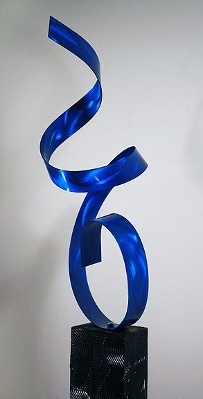 Blue Twist Modern Abstract Contemporary Metal Indoor Outdoor Sculpture / by Jon Allen on Etsy, $225.00
