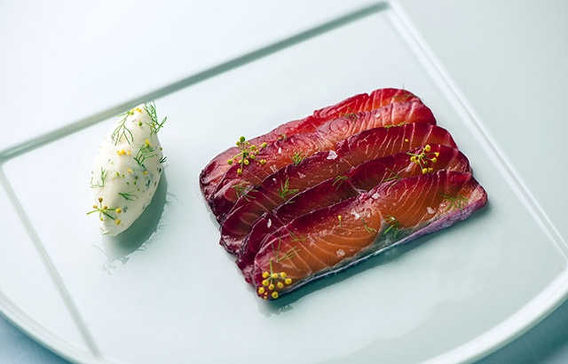 Soy and beetroot marinated salmon with fennel pollen cream - Simon Hulstone. On a SERIOUS fennel kick.